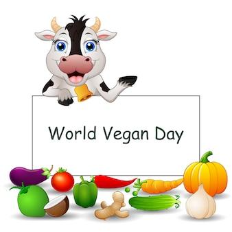 야채와 소 기호에 세계 채식의 날 텍스트 디자인