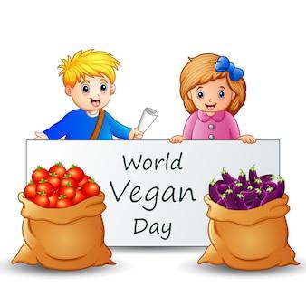 Всемирный день вегана текст на табличке с детьми и овощами