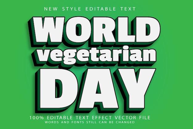 World vegetarian day editable text effect emboss modern style