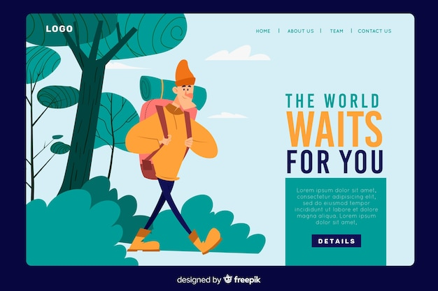 World waits for you adventure landing page