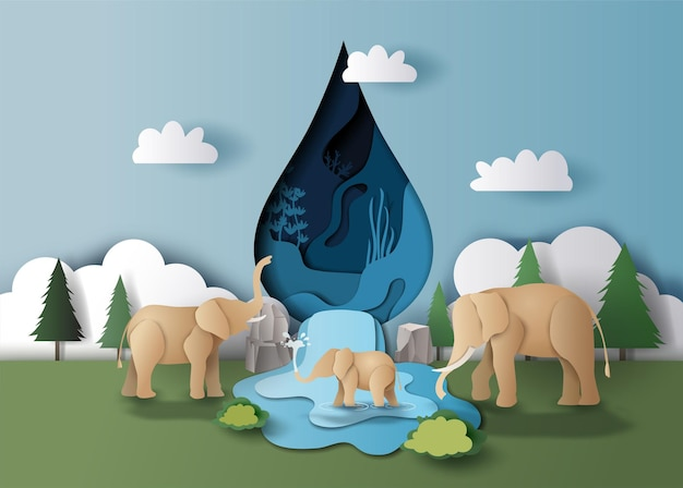 Всемирный день воды, пейзаж семьи слонов с каплей воды и фоном деревьев, бумажная иллюстрация.
