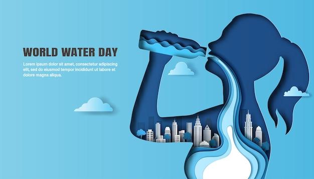 Всемирный день воды, женщина пьет воду, и вода течет через ее тело на фоне города.