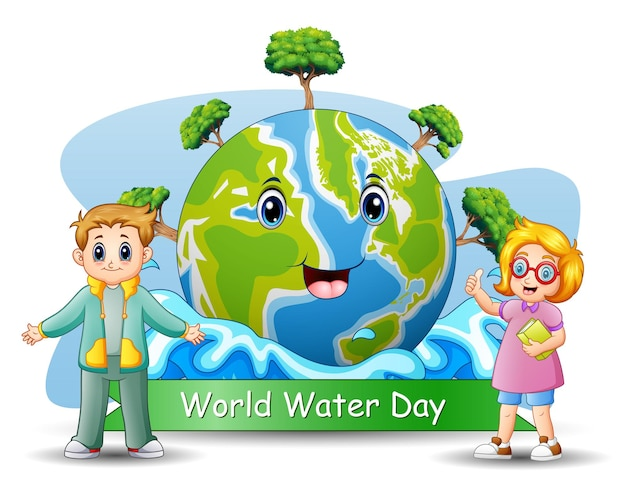 World water day background  with happy children