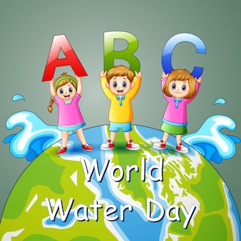 World water day design with children holding abc letter