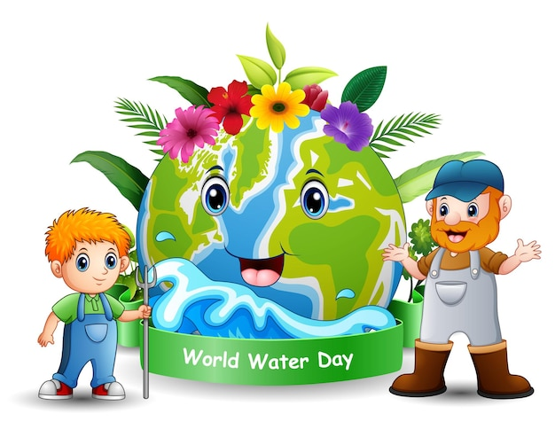 World water day design with the farmers standing