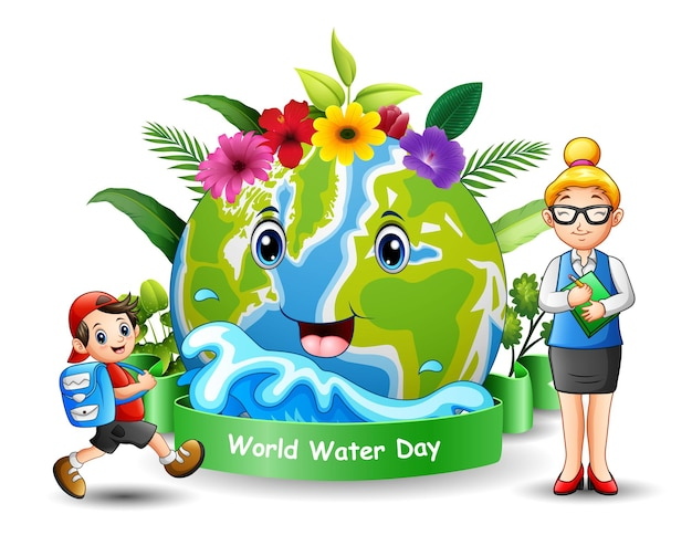 World water day design with a teacher and student