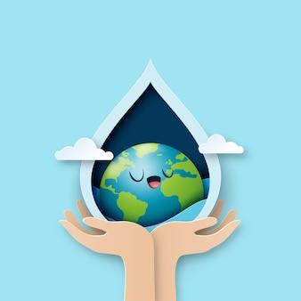 世界水の日。水滴に地球を持っている手。エコロジーと環境保全のコンセプトデザインのための節水のペーパーアート。ベクトル図。
