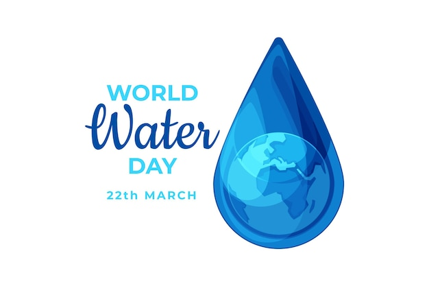 World water day illustrated drop
