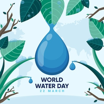 World water day illustration with leaves and water drop