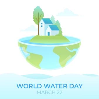 Illustrazione di giornata mondiale dell'acqua con il pianeta e le case