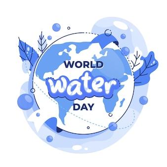 Illustrazione di giornata mondiale dell'acqua con il pianeta