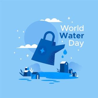 Illustrazione di giornata mondiale dell'acqua con annaffiatoio e villaggio