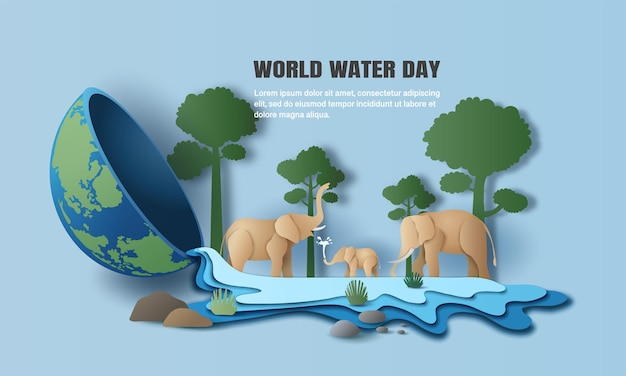 World water day, a landscape of elephant family with trees, water flows out from the earth.