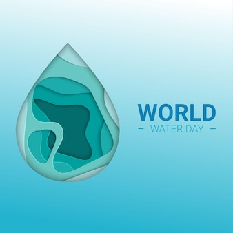 World water day in paper cut. abstract waterdrop concept