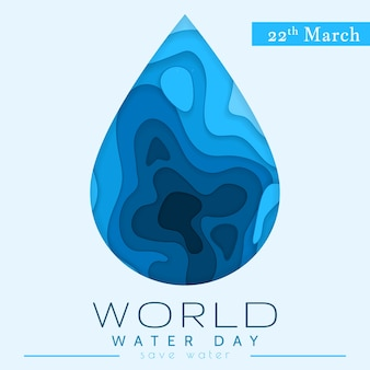 World water day in paper cut stile. abstract waterdrop concept. save the water. ecology. water drop.