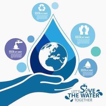 Всемирный день воды, сохраните шаблон дизайна воды