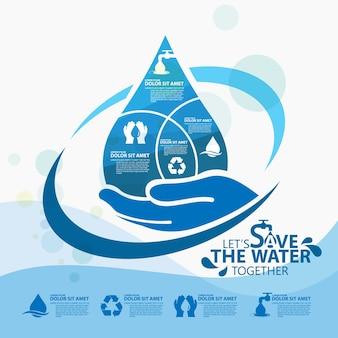 Всемирный день воды, сохраните шаблон дизайна воды Premium векторы