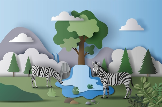 World water day, save water, a landscape of zebra couple in the wild, paper illustration, and  paper.