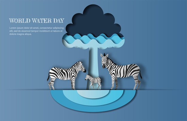 World water day, save water, a zebra family with tree and water wave icon, paper illustration.