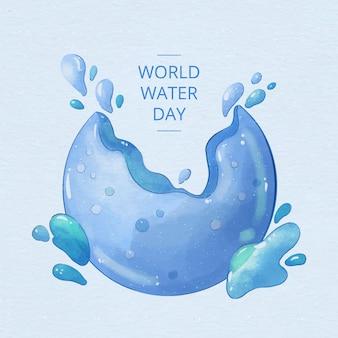 世界水の日の水彩画