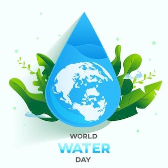 世界水の日の白い背景、グリーティングカードまたはキャンペーンのポスターは水を節約します