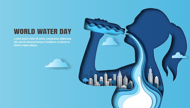 World water day, a woman drinking water, and the water flow through her body with a city background.