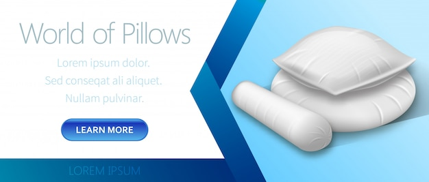 World of white pillows advertising