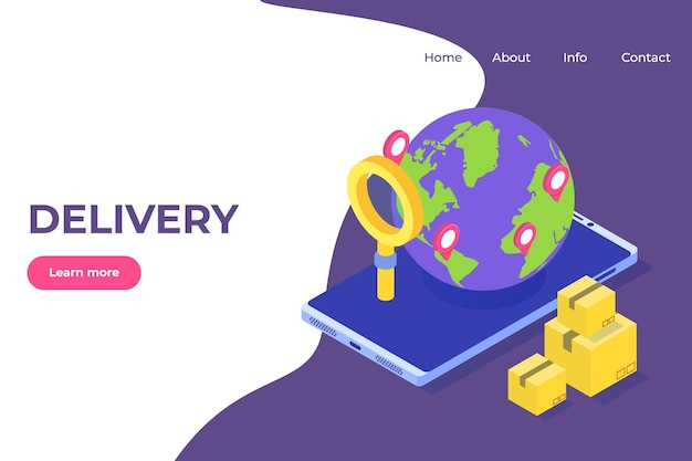 World wide international delivery 아이소 메트릭 개념. 전세계화물 운송, 글로벌 물류.