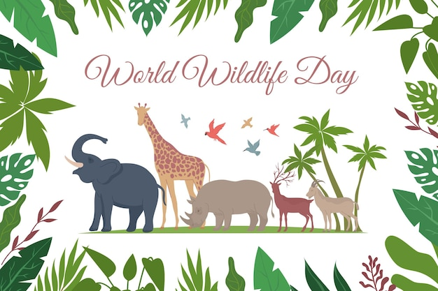 World wildlife day card flat composition with ornate text floral frame and exotic birds with animals illustration