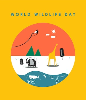 World wildlife day concept illustration