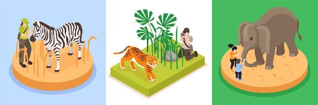 Набор дизайнерских композиций всемирного дня дикой природы из трех квадратных композиций с изометрическими изображениями редких животных