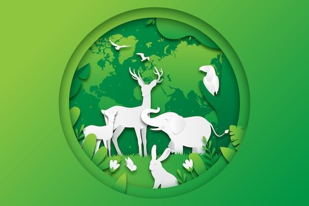 Illustrazione della giornata mondiale della fauna selvatica in stile carta
