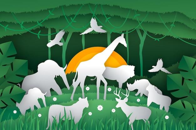 紙のスタイルで動物と世界野生生物の日のイラスト