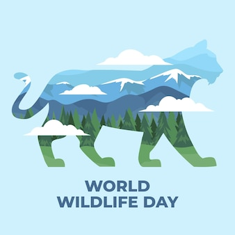 World wildlife day illustration with mountains and tiger