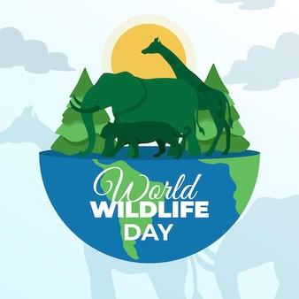 Illustrazione di giornata mondiale della fauna selvatica con pianeta e animali