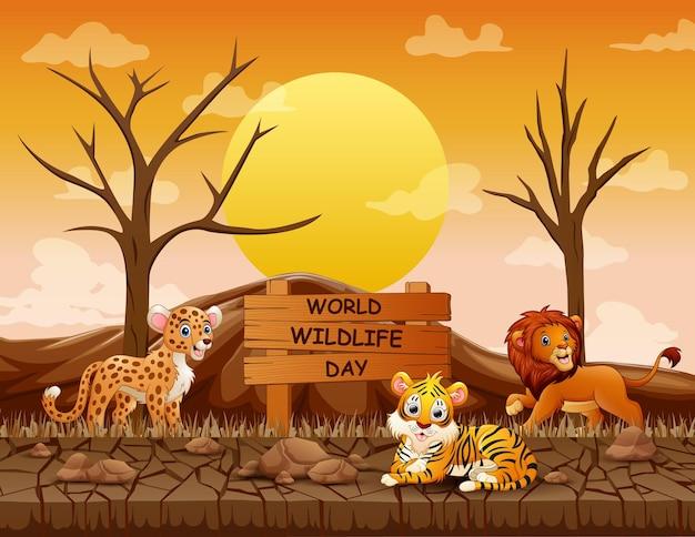 乾燥した土地で動物と世界野生生物の日のサイン