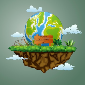 World wildlife day sign with big earth on the island illustration