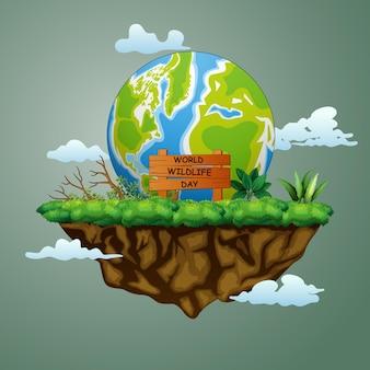 島のイラストに大きな地球と世界野生生物の日のサイン
