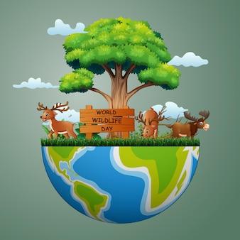 地球上の鹿と世界野生生物の日のサイン