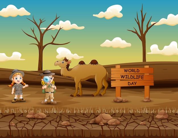 探検家の男の子と女の子との世界野生生物の日のサイン