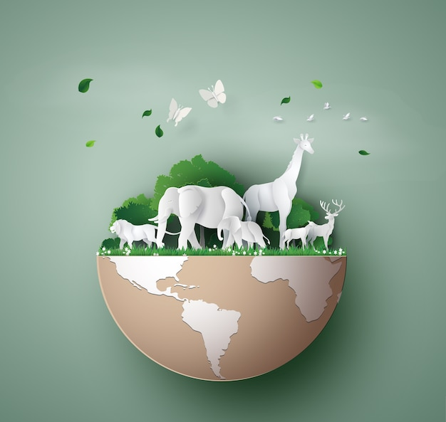 World wildlife day with the animal in forest ,