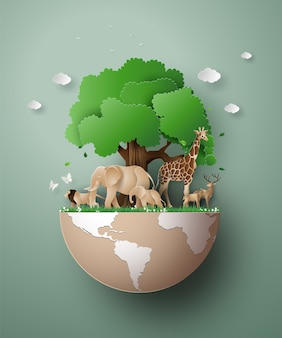 World wildlife day with the animal in forest