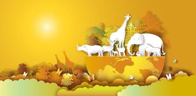 가을 숲 환경에서 동물과 함께 하는 세계 야생 동물의 날, 종이 예술, 종이 자르기 및 종이 접기 공예 스타일. 벡터 일러스트 레이 션 세계 환경 야생 동물의 날 자연에서 지구에 동물.