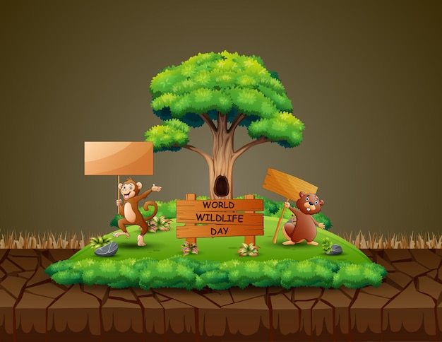 World wildlife day with the a monkey and beaver holding wooden sign