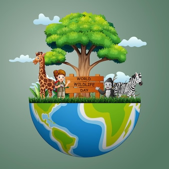 動物と探検家の女の子との世界野生生物の日