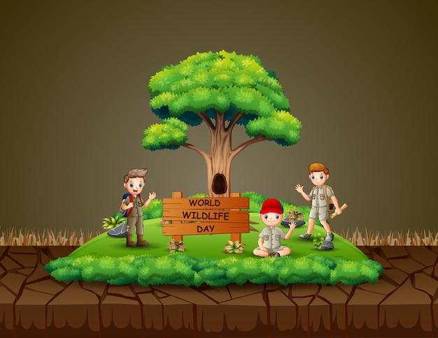 スカウトの少年たちとの世界野生生物の日