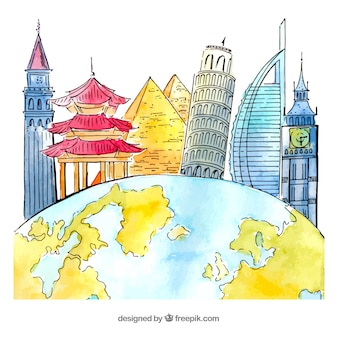 World with landmarks background in watercolor style