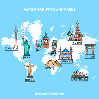 World with landmarks in flat style