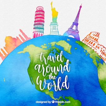 World with landmarks in watercolor style