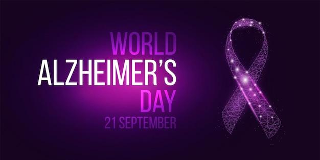 Концепция всемирного дня борьбы с болезнью альцгеймера. шаблон баннера со светящейся лентой с низким поли. векторная иллюстрация